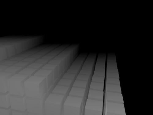 3D Würfel in Stufenanordnung.