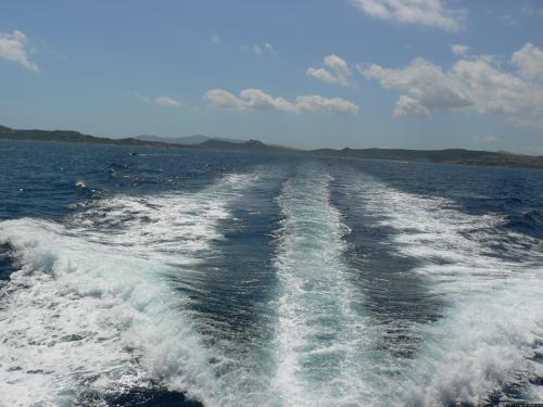 Die Spur einer Yacht.